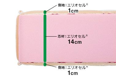 芯材:エリオセル®14cm、側地:上下エリオセル®1cm