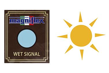 ポケットの「ウェット・シグナル」がブルーからピンクに変わったら天日干しのサイン。シグナルを取り外し、本体を天日干しすれば、吸湿力も消臭力も元通り。繰り返し使えます。 (ウェット・シグナルは陰干し)