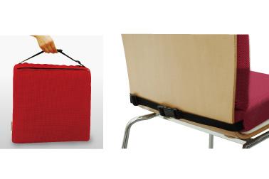 すべり落ちを防ぐ固定用ベルトを装備。バックベルトで椅子に固定でき、持ち運びにもたいへん便利です。