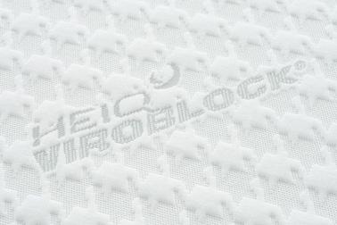 「HeiQ Viroblock」を浸潤加工した側地が、ウィルスを吸着して破棄、99.99%減少させ、侵入を未然に防ぎます。